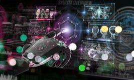 乱砍与数字屏幕3D翻译的红色机器人一个系统 库存例证