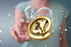 乱砍保安系统3D翻译的女实业家 免版税库存图片