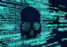 乱砍和病毒攻击计算机编码背景 皇族释放例证