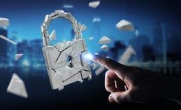 乱砍在残破的挂锁安全3D翻译的商人 免版税库存照片
