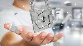 乱砍在残破的挂锁安全3D翻译的商人 库存照片