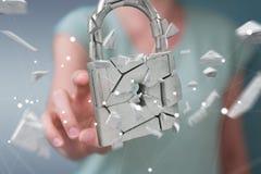 乱砍在残破的挂锁安全3D翻译的女实业家 库存图片