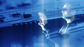 乱砍虚拟现实保安系统,新技术概念的计算机黑客 股票视频