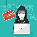 乱砍phishing的攻击 坐与膝部上面和乱砍秘密数据的黑客 库存例证