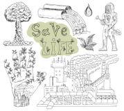 乱画与eco象和标志2的手拉的集合 库存照片