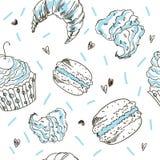 乱画传染媒介无缝的样式 传染媒介剪影样式例证 甜点轻的样式 免版税库存图片