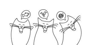 乱画作梦鲜美食物和乐趣玩具的猫 皇族释放例证