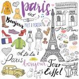 巴黎乱画元素 与埃佛尔铁塔的手拉的集合养殖了咖啡馆、出租汽车triumf曲拱、时尚元素、猫和法国牛头犬 博士 免版税库存图片