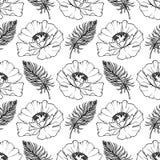 乱画单色鸦片羽毛无缝的样式背景纹理传染媒介 免版税库存照片