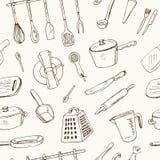 乱画厨房工具无缝的样式-导航例证 免版税库存照片