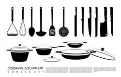 乱画厨房设备集合 免版税图库摄影