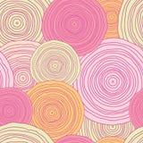 乱画圈子纹理无缝的样式背景 免版税库存照片
