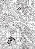 乱画在传染媒介的背景与乱画、花和佩兹利 免版税图库摄影