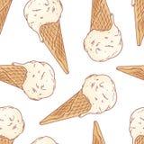 乱画在奶蛋烘饼锥体无缝的样式的冰淇凌 也corel凹道例证向量 免版税库存照片