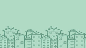 乱画城内住宅水平的无缝的样式 库存图片