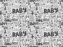 乱画婴孩无缝的样式背景 免版税库存照片