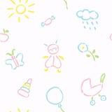 乱画婴孩无缝的样式 免版税库存图片