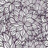 乱画幻想开花概述装饰无缝的样式 图库摄影