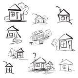 乱画手拉的房子 铅笔传染媒介剪影 免版税库存照片