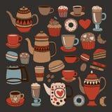 乱画手拉的无缝的样式用咖啡 免版税库存图片