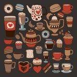 乱画手拉的无缝的样式用咖啡 库存照片