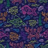 乱画无缝的样式 泡影复制鱼例证生活海运海草空间文本向量 免版税库存图片