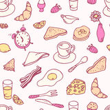 乱画早餐无缝的样式 免版税库存图片