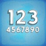 乱画样式手拉的数字 免版税库存图片
