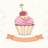 乱画样式杯形蛋糕手拉的背景  免版税库存照片