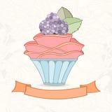 乱画样式杯形蛋糕手拉的背景  库存图片