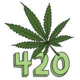 大麻420剪影 免版税库存照片