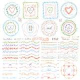 乱画框架,刷子,花圈装饰集合 淡色 免版税库存图片