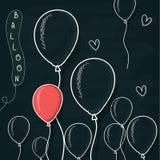 乱画气球画与在委员会的白垩 动画片球形 免版税图库摄影