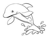 乱画海豚的起草的动物 库存例证