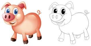 乱画猪的起草的动物 免版税库存图片