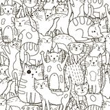 乱画猫无缝的样式 黑白逗人喜爱的猫背景 库存图片