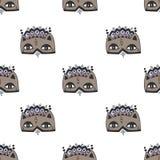 乱画猫面具无缝的样式 免版税库存照片