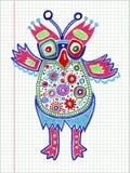 乱画猫头鹰标志图画 免版税图库摄影