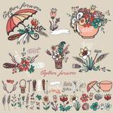 乱画花卉小组,手速写的元素装饰 库存图片