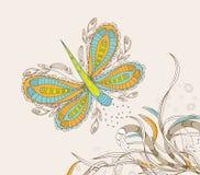 乱画花卉背景,手拉减速火箭 免版税库存图片
