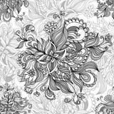 从乱画花的无缝的样式在灰色 免版税库存照片
