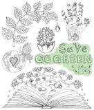 乱画设置了与eco图画、象和标志2 免版税库存图片