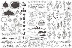 乱画边界,鸡蛋,丝带,花卉装饰元素 免版税库存图片
