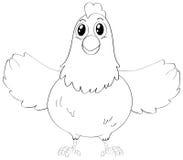 乱画逗人喜爱的母鸡的起草的动物 库存照片