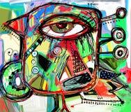 乱画鸟抽象数字式绘画艺术品  免版税库存照片