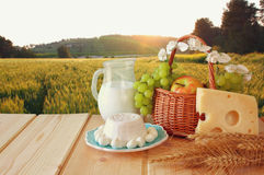 乳制品和果子的图象 库存照片
