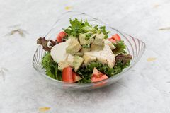 乳房鸡丁沙拉包括与狂放的火箭和色拉调味品的鲕梨、蕃茄和赤栎顶部在washi日文报纸 免版税图库摄影