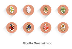 乳清干酪Crostini。意大利食物。 库存图片