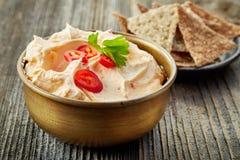 乳脂干酪用辣椒和蕃茄,垂度调味汁 免版税库存照片