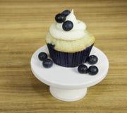 乳脂干酪结霜的蓝莓松饼 库存照片